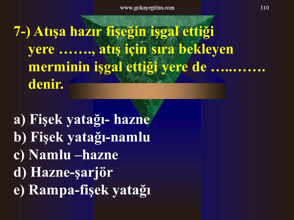 www.gokayegitim.com110 7-) Atışa hazır fişeğin işgal ettiği yere ……., atış için sıra bekleyen merminin işgal ettiği yere de …..……. denir. a) Fişek yat