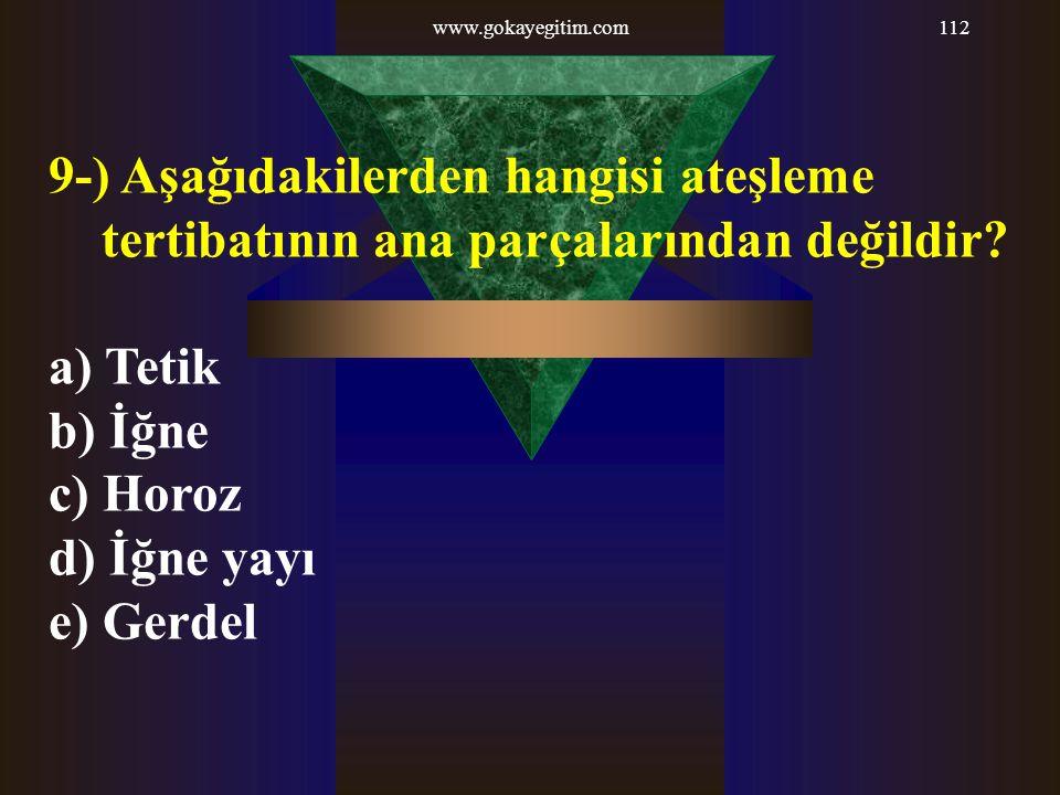 www.gokayegitim.com112 9-) Aşağıdakilerden hangisi ateşleme tertibatının ana parçalarından değildir? a) Tetik b) İğne c) Horoz d) İğne yayı e) Gerdel