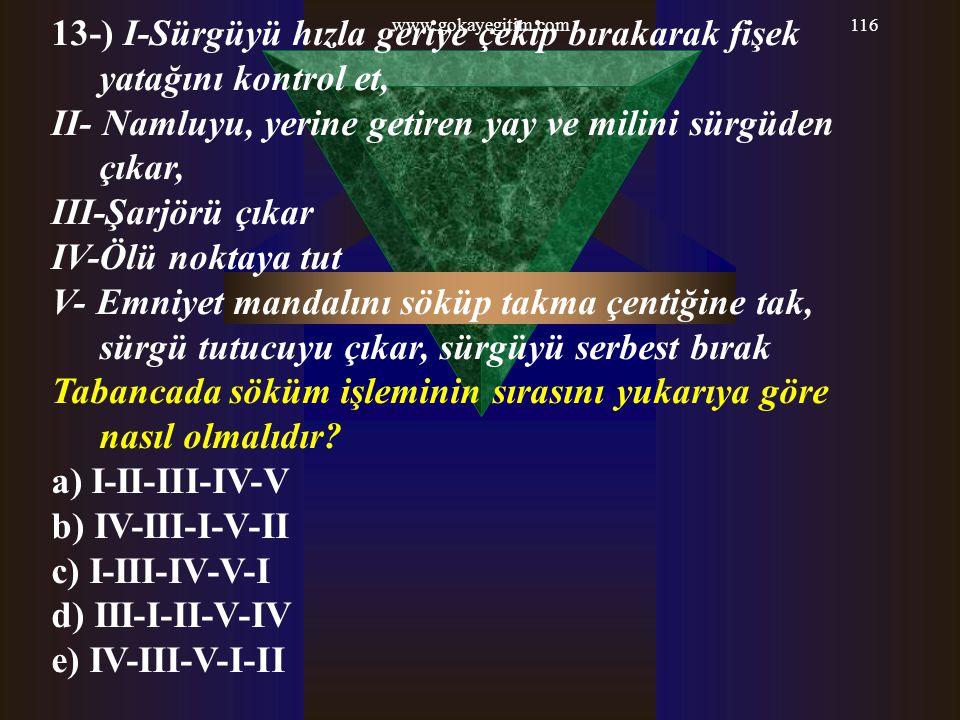 www.gokayegitim.com116 13-) I-Sürgüyü hızla geriye çekip bırakarak fişek yatağını kontrol et, II- Namluyu, yerine getiren yay ve milini sürgüden çıkar