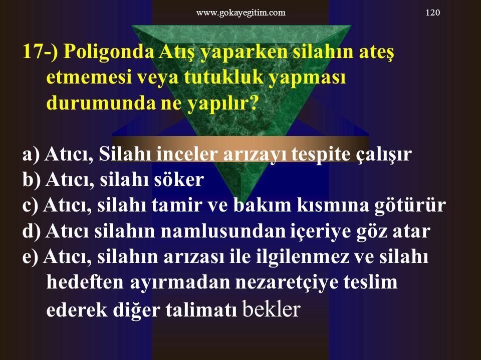 www.gokayegitim.com120 17-) Poligonda Atış yaparken silahın ateş etmemesi veya tutukluk yapması durumunda ne yapılır? a) Atıcı, Silahı inceler arızayı