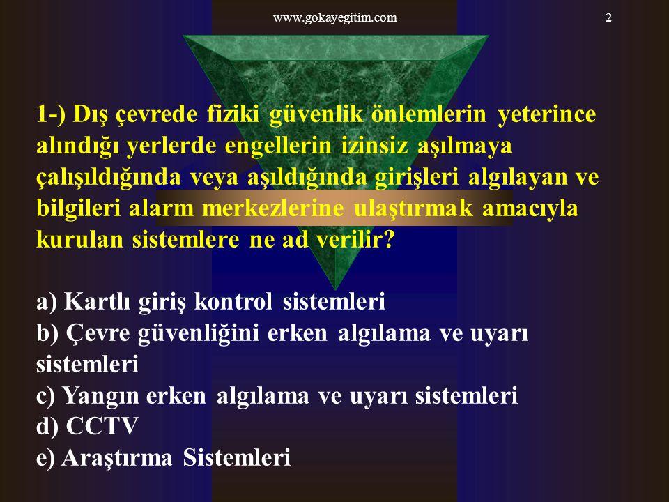 www.gokayegitim.com93 91 -) 5188 sayılı yasa ile öngörülen Özel Güvenlik Komisyonu aşağıdakilerden hangisine yetkilidir.
