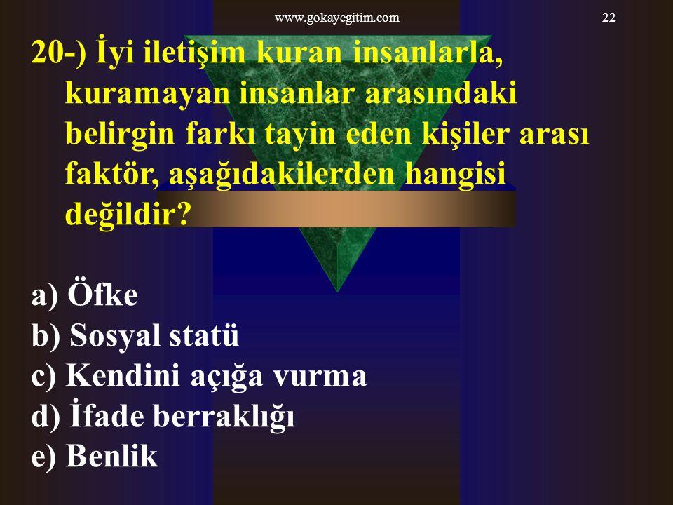 www.gokayegitim.com22 20-) İyi iletişim kuran insanlarla, kuramayan insanlar arasındaki belirgin farkı tayin eden kişiler arası faktör, aşağıdakilerde