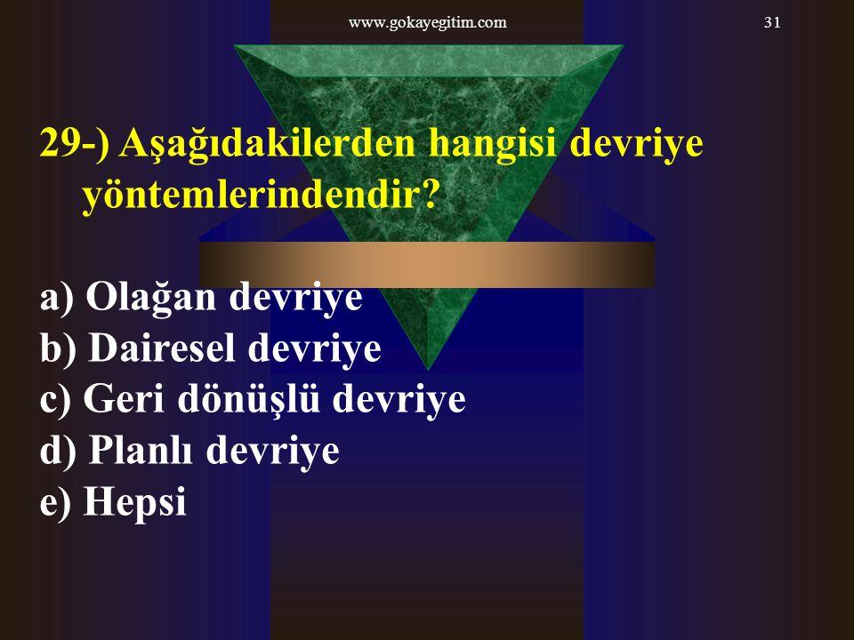 www.gokayegitim.com31 29-) Aşağıdakilerden hangisi devriye yöntemlerindendir? a) Olağan devriye b) Dairesel devriye c) Geri dönüşlü devriye d) Planlı