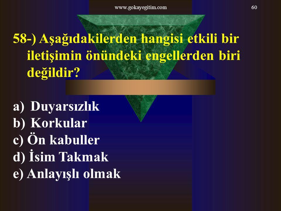 www.gokayegitim.com60 58-) Aşağıdakilerden hangisi etkili bir iletişimin önündeki engellerden biri değildir? a) Duyarsızlık b) Korkular c) Ön kabuller