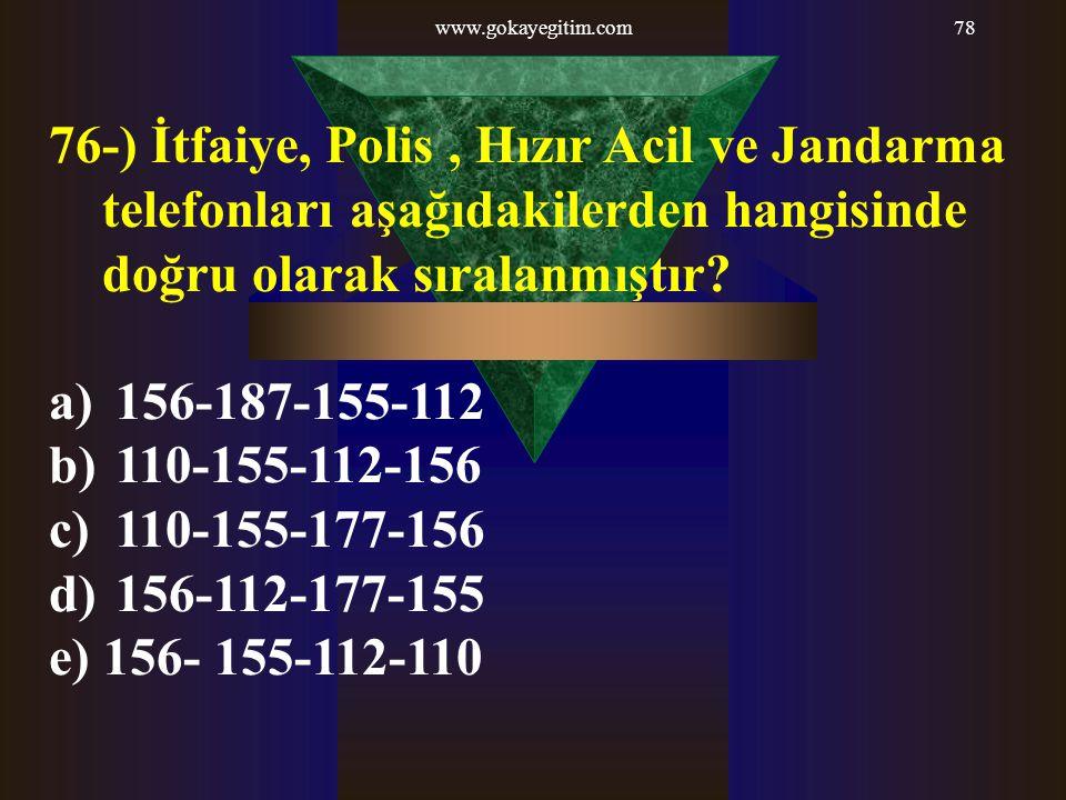 www.gokayegitim.com78 76-) İtfaiye, Polis, Hızır Acil ve Jandarma telefonları aşağıdakilerden hangisinde doğru olarak sıralanmıştır? a) 156-187-155-11