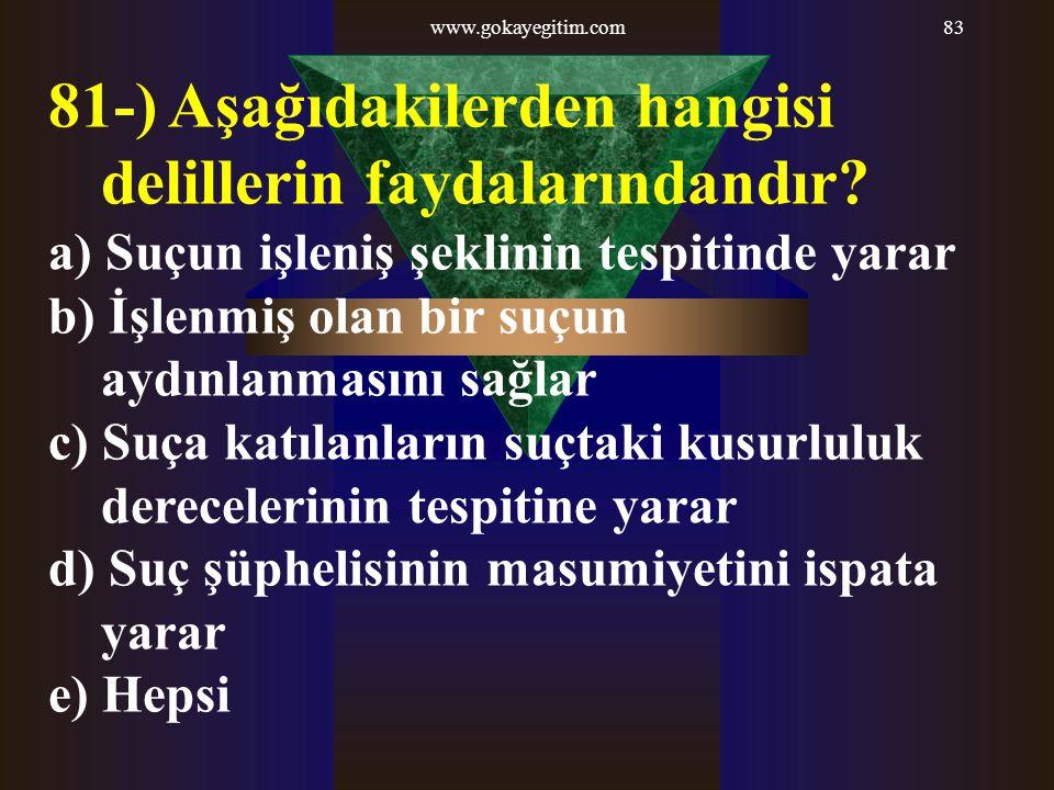 www.gokayegitim.com83 81-) Aşağıdakilerden hangisi delillerin faydalarındandır? a) Suçun işleniş şeklinin tespitinde yarar b) İşlenmiş olan bir suçun