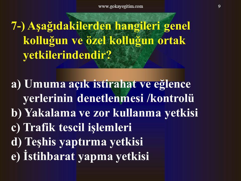 www.gokayegitim.com20 18-) Temel Hak ve Hürriyetler a) Hiçbir şartla sınırlandırılamaz b) Cumhurbaşkanı kısmen sınırlandırabilir c) Valinin takdirindedir d) Ancak kanunla sınırlandırılabilir e) Cumhuriyet Başsavcının emriyle sınırlandırılabilir