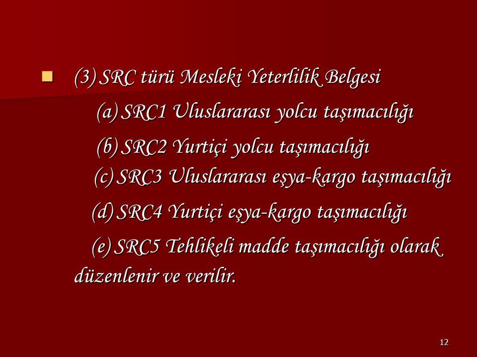 12 (3) SRC türü Mesleki Yeterlilik Belgesi (3) SRC türü Mesleki Yeterlilik Belgesi (a) SRC1 Uluslararası yolcu taşımacılığı (a) SRC1 Uluslararası yolc