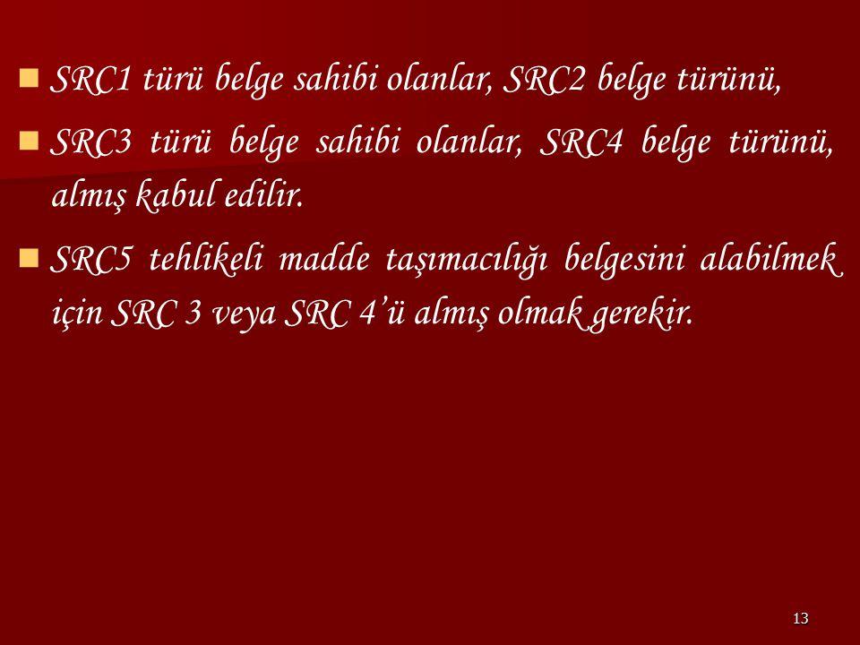 13 SRC1 türü belge sahibi olanlar, SRC2 belge türünü, SRC3 türü belge sahibi olanlar, SRC4 belge türünü, almış kabul edilir. SRC5 tehlikeli madde taşı