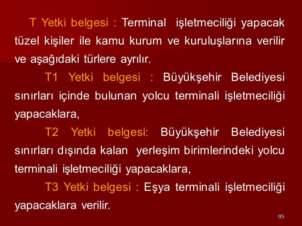 95 T Yetki belgesi : Terminal işletmeciliği yapacak tüzel kişiler ile kamu kurum ve kuruluşlarına verilir ve aşağıdaki türlere ayrılır. T1 Yetki belge