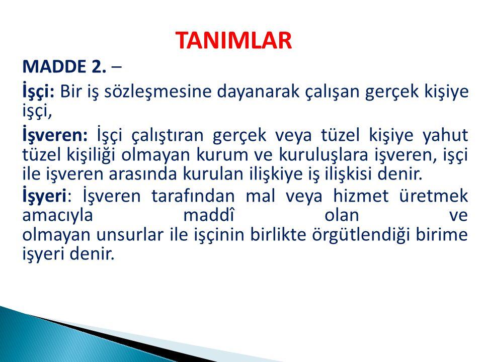 TANIMLAR MADDE 2.