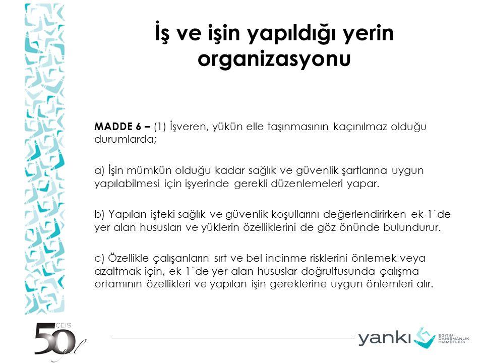 İş ve işin yapıldığı yerin organizasyonu MADDE 6 – (1) İşveren, yükün elle taşınmasının kaçınılmaz olduğu durumlarda; a) İşin mümkün olduğu kadar sağl