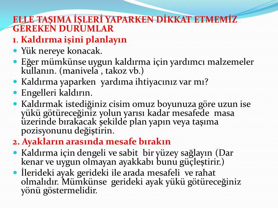 ELLE TAŞIMA İŞLERİ YAPARKEN DİKKAT ETMEMİZ GEREKEN DURUMLAR 1.