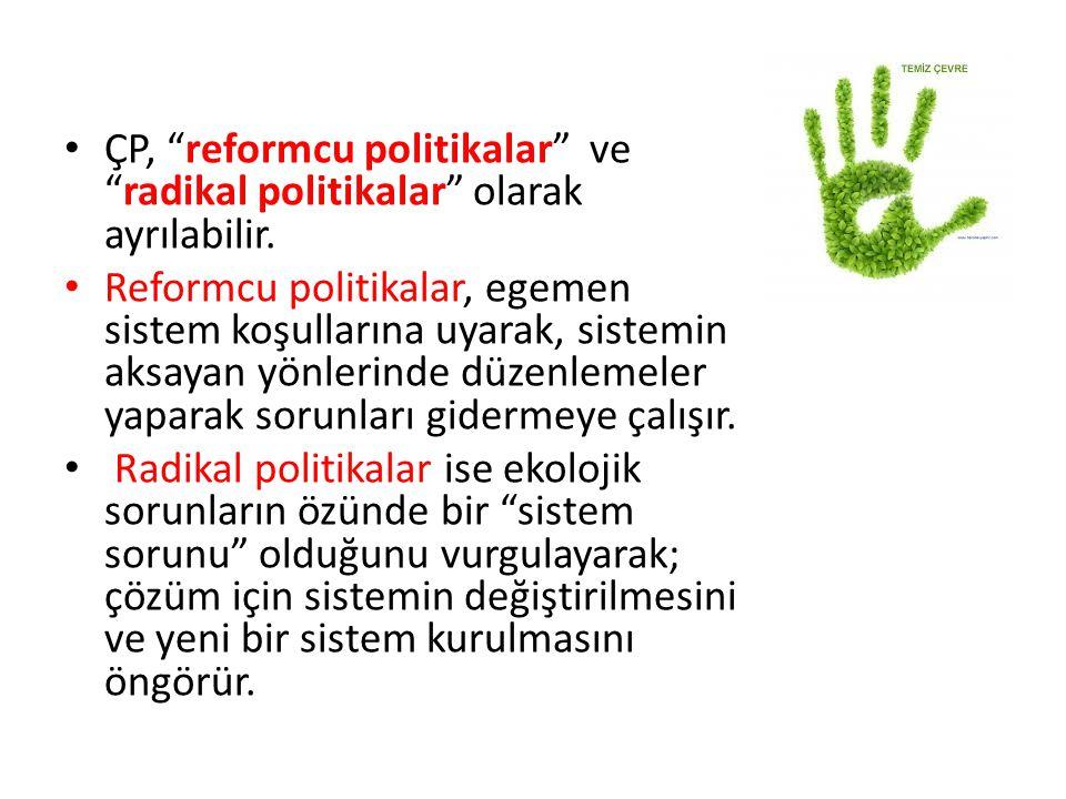 """ÇP, """"reformcu politikalar"""" ve """"radikal politikalar"""" olarak ayrılabilir. Reformcu politikalar, egemen sistem koşullarına uyarak, sistemin aksayan yönle"""