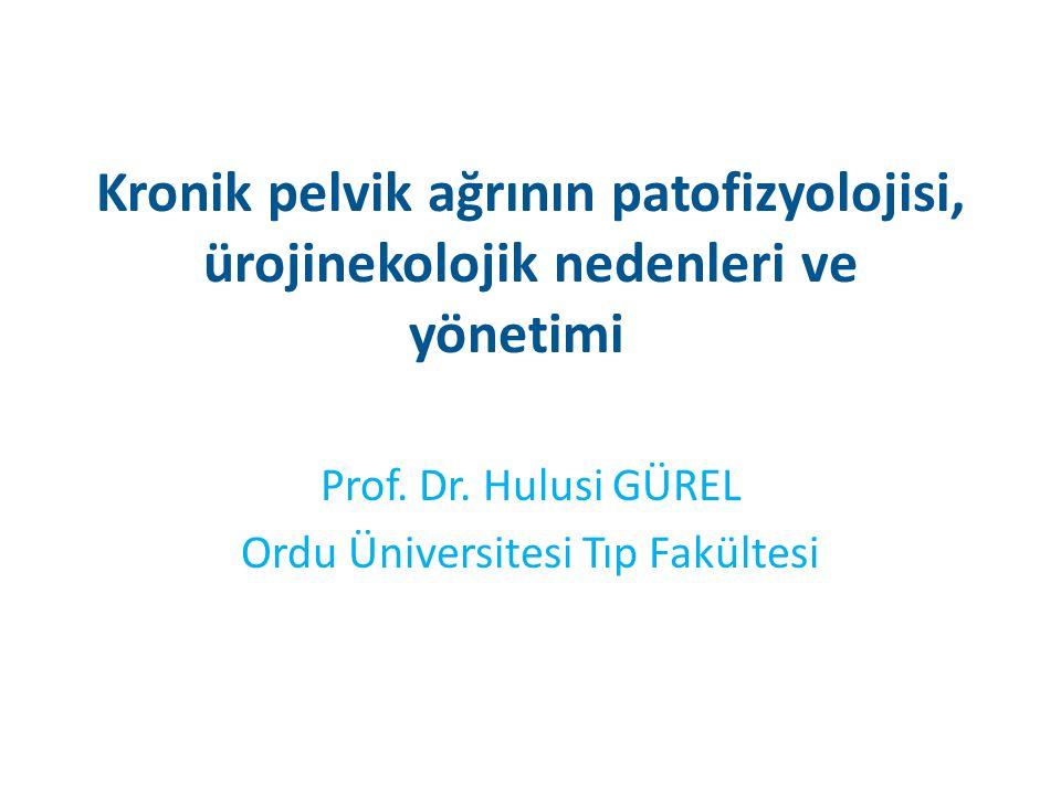 Kronik pelvik ağrının patofizyolojisi, ürojinekolojik nedenleri ve yönetimi Prof. Dr. Hulusi GÜREL Ordu Üniversitesi Tıp Fakültesi