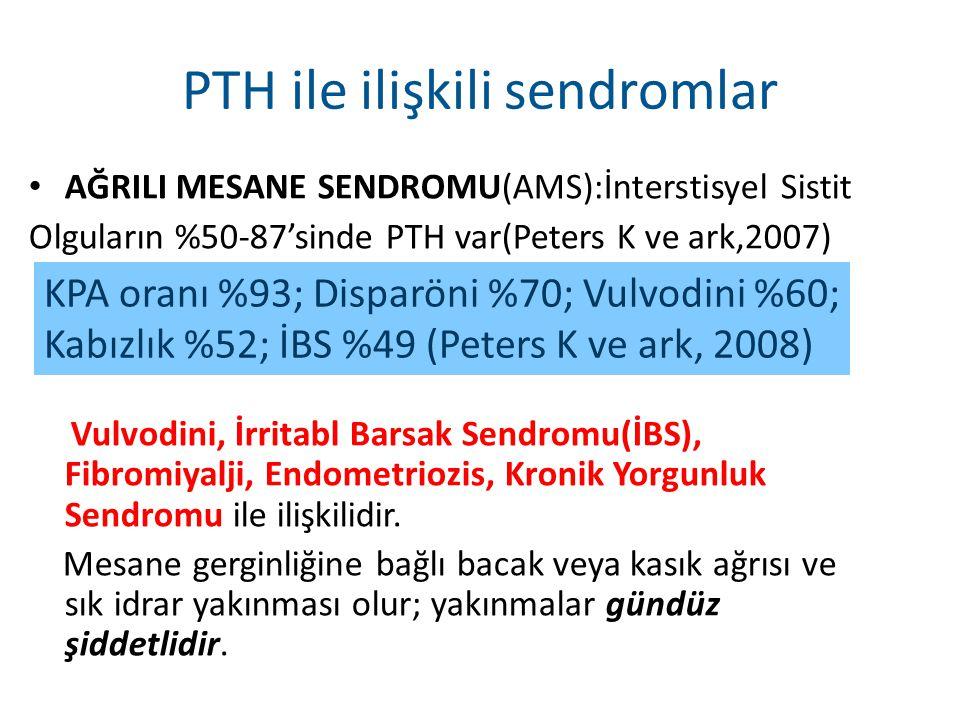 PTH ile ilişkili sendromlar AĞRILI MESANE SENDROMU(AMS):İnterstisyel Sistit Olguların %50-87'sinde PTH var(Peters K ve ark,2007) Vulvodini, İrritabl B