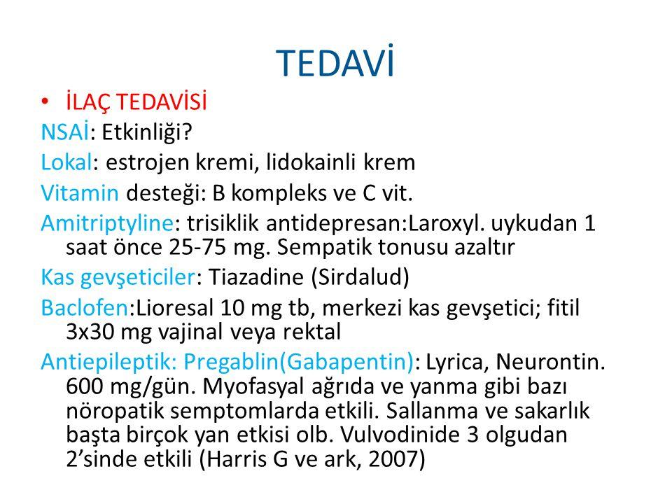 TEDAVİ İLAÇ TEDAVİSİ NSAİ: Etkinliği? Lokal: estrojen kremi, lidokainli krem Vitamin desteği: B kompleks ve C vit. Amitriptyline: trisiklik antidepres