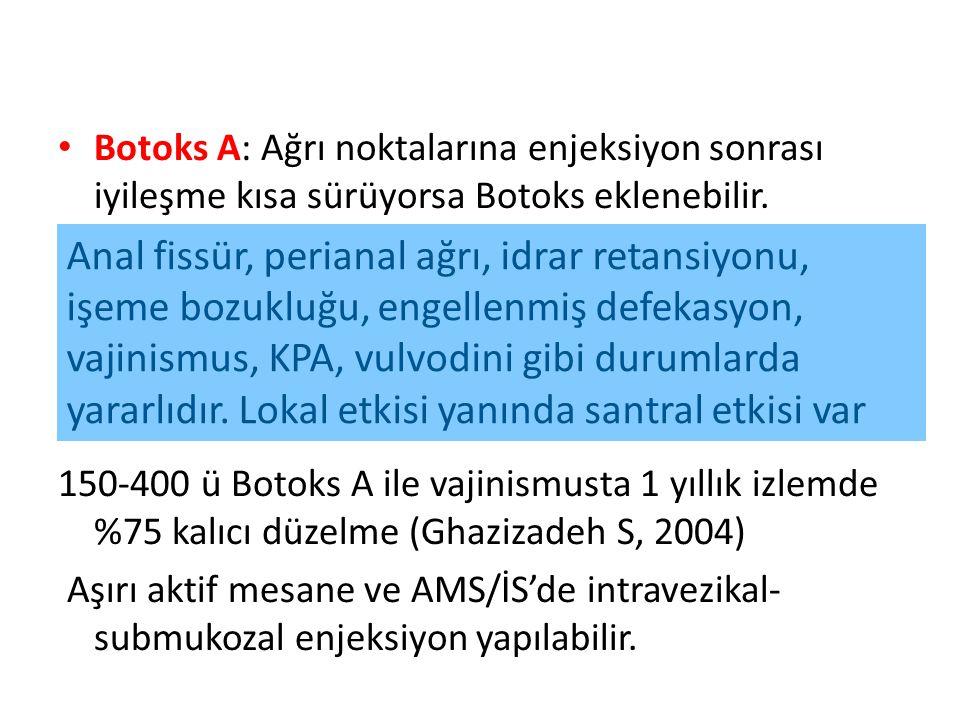Botoks A: Ağrı noktalarına enjeksiyon sonrası iyileşme kısa sürüyorsa Botoks eklenebilir. 150-400 ü Botoks A ile vajinismusta 1 yıllık izlemde %75 kal