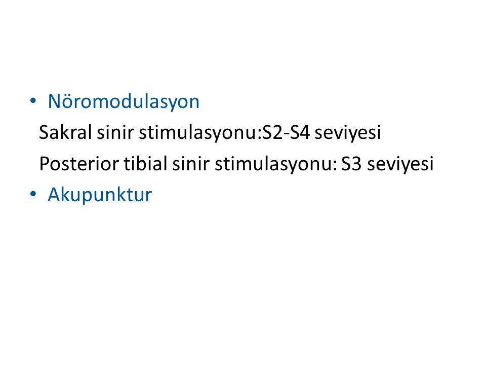 Nöromodulasyon Sakral sinir stimulasyonu:S2-S4 seviyesi Posterior tibial sinir stimulasyonu: S3 seviyesi Akupunktur