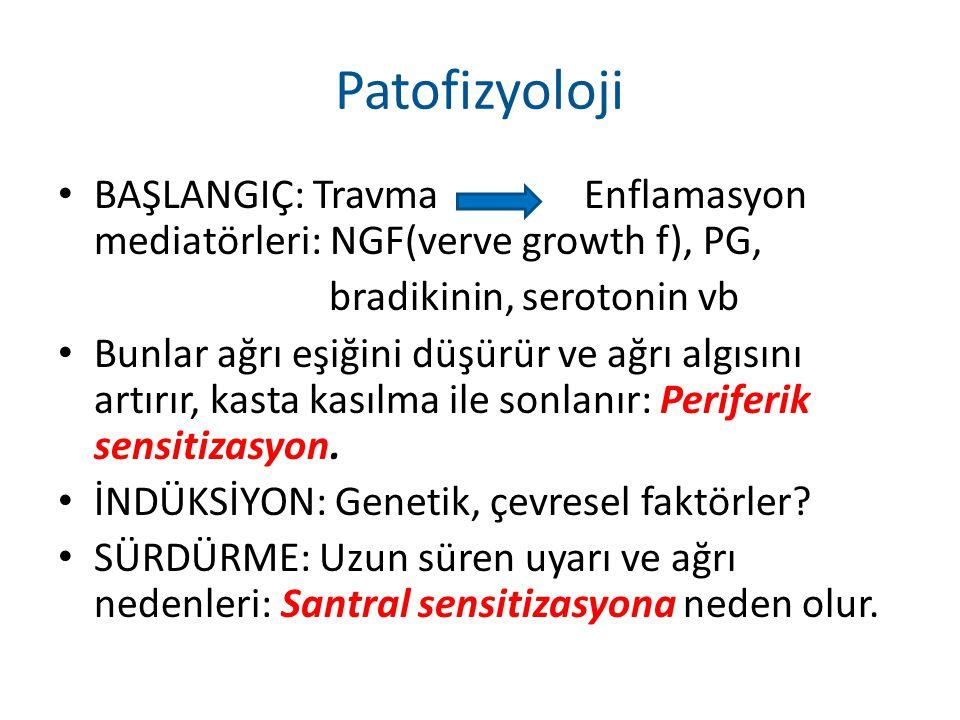 Patofizyoloji BAŞLANGIÇ: Travma Enflamasyon mediatörleri: NGF(verve growth f), PG, bradikinin, serotonin vb Bunlar ağrı eşiğini düşürür ve ağrı algısı