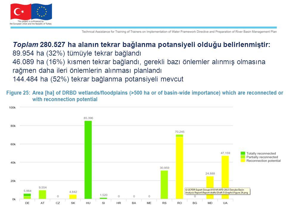 Toplam 280.527 ha alanın tekrar bağlanma potansiyeli olduğu belirlenmiştir: 89.954 ha (32%) tümüyle tekrar bağlandı 46.089 ha (16%) kısmen tekrar bağl