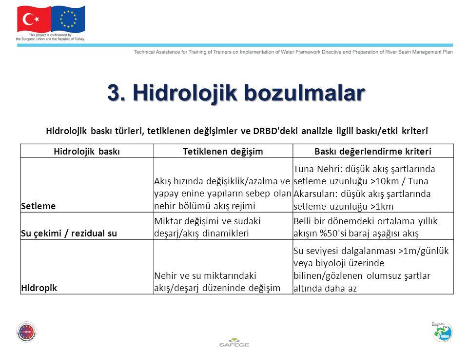 3. Hidrolojik bozulmalar Hidrolojik baskı türleri, tetiklenen değişimler ve DRBD'deki analizle ilgili baskı/etki kriteri Hidrolojik baskıTetiklenen de