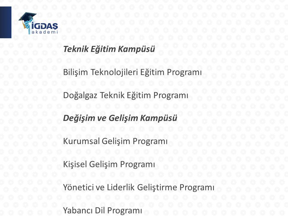 Teknik Eğitim Kampüsü Bilişim Teknolojileri Eğitim Programı Doğalgaz Teknik Eğitim Programı Değişim ve Gelişim Kampüsü Kurumsal Gelişim Programı Kişisel Gelişim Programı Yönetici ve Liderlik Geliştirme Programı Yabancı Dil Programı