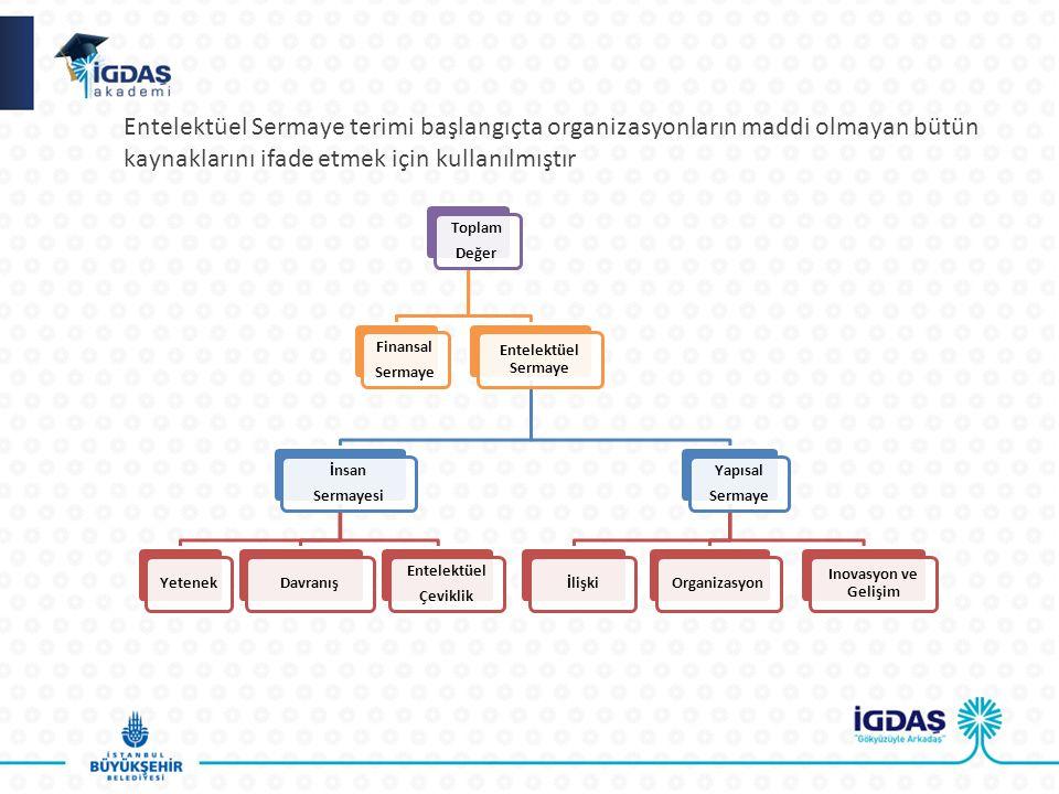 Entelektüel Sermaye terimi başlangıçta organizasyonların maddi olmayan bütün kaynaklarını ifade etmek için kullanılmıştır Toplam Değer Finansal Sermaye Entelektüel Sermaye İnsan Sermayesi YetenekDavranış Entelektüel Çeviklik Yapısal Sermaye İlişkiOrganizasyon Inovasyon ve Gelişim