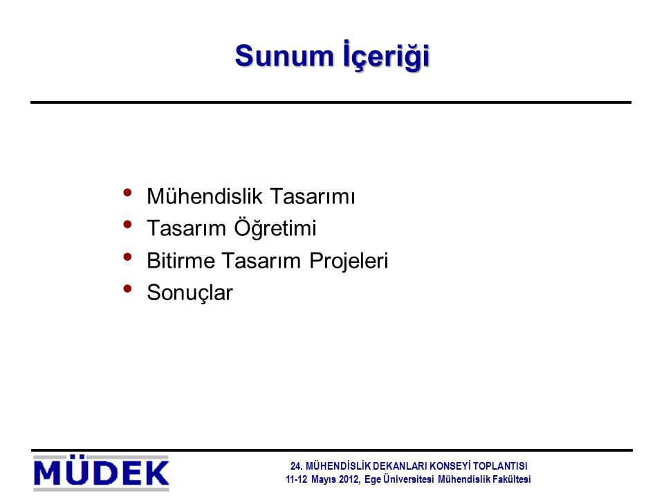 Sunum İçeriği Mühendislik Tasarımı Tasarım Öğretimi Bitirme Tasarım Projeleri Sonuçlar 24. MÜHENDİSLİK DEKANLARI KONSEYİ TOPLANTISI 11-12 Mayıs 2012,