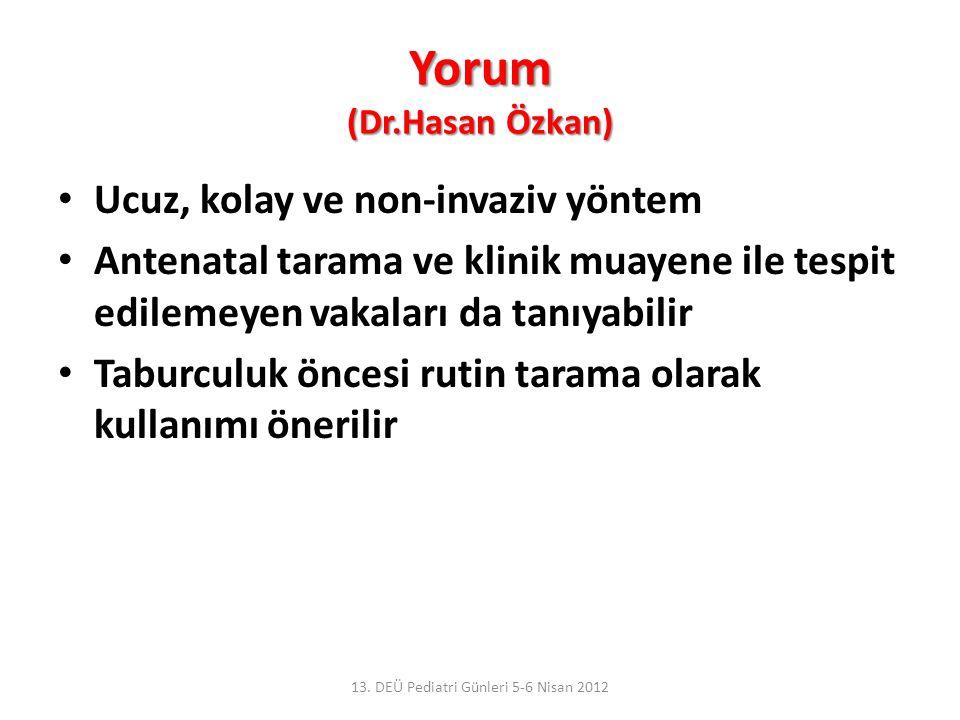 Yorum (Dr.Hasan Özkan) Ucuz, kolay ve non-invaziv yöntem Antenatal tarama ve klinik muayene ile tespit edilemeyen vakaları da tanıyabilir Taburculuk ö