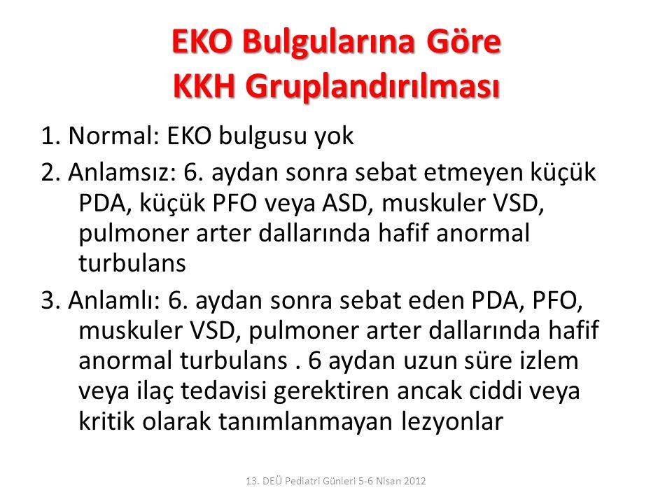 EKO Bulgularına Göre KKH Gruplandırılması 1. Normal: EKO bulgusu yok 2. Anlamsız: 6. aydan sonra sebat etmeyen küçük PDA, küçük PFO veya ASD, muskuler