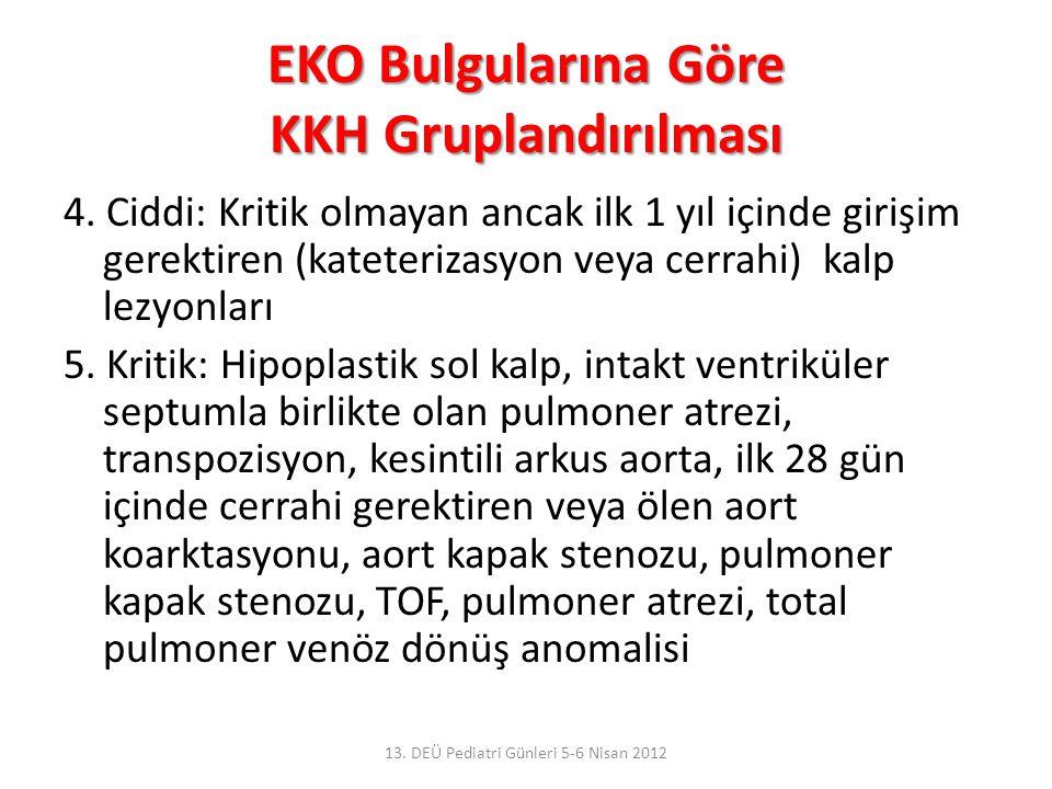 EKO Bulgularına Göre KKH Gruplandırılması 4. Ciddi: Kritik olmayan ancak ilk 1 yıl içinde girişim gerektiren (kateterizasyon veya cerrahi) kalp lezyon