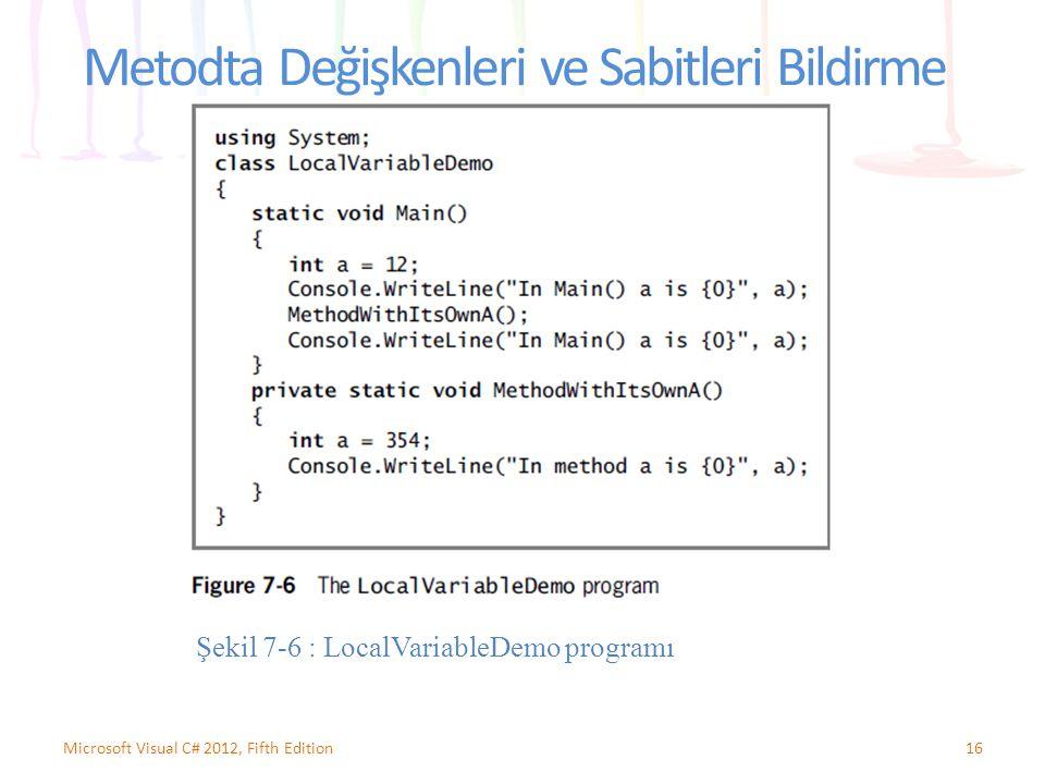 Metodta Değişkenleri ve Sabitleri Bildirme 16Microsoft Visual C# 2012, Fifth Edition Şekil 7-6 : LocalVariableDemo programı