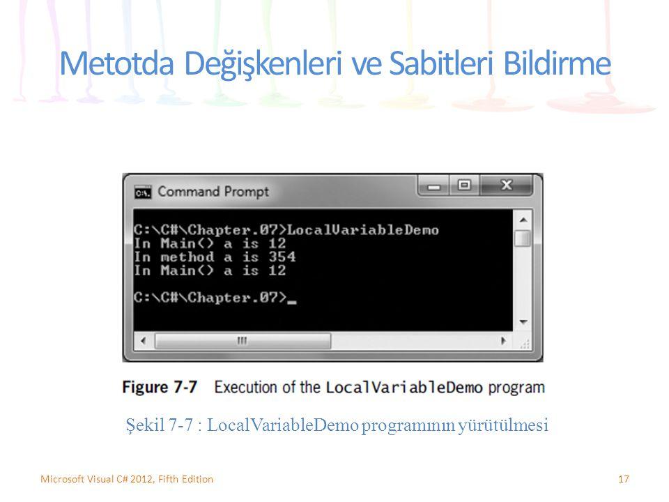 Metotda Değişkenleri ve Sabitleri Bildirme 17Microsoft Visual C# 2012, Fifth Edition Şekil 7-7 : LocalVariableDemo programının yürütülmesi