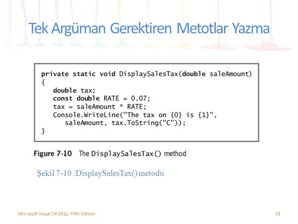 Tek Argüman Gerektiren Metotlar Yazma 19Microsoft Visual C# 2012, Fifth Edition Şekil 7-10 :DisplaySalesTax() metodu