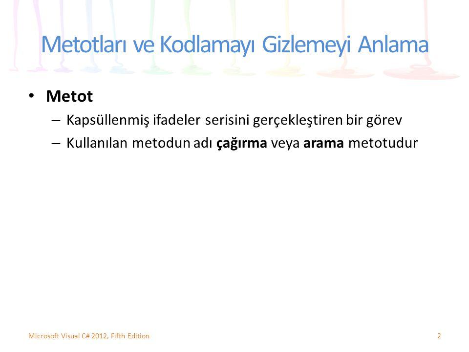Metotları ve Kodlamayı Gizlemeyi Anlama Metot – Kapsüllenmiş ifadeler serisini gerçekleştiren bir görev – Kullanılan metodun adı çağırma veya arama metotudur 2Microsoft Visual C# 2012, Fifth Edition