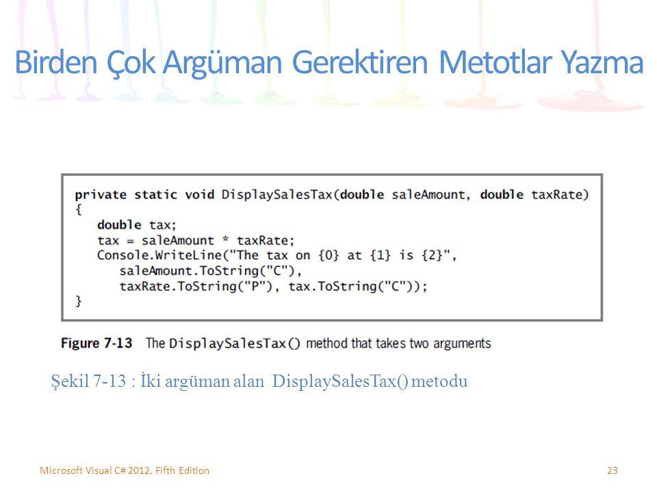 Birden Çok Argüman Gerektiren Metotlar Yazma 23Microsoft Visual C# 2012, Fifth Edition Şekil 7-13 : İki argüman alan DisplaySalesTax() metodu
