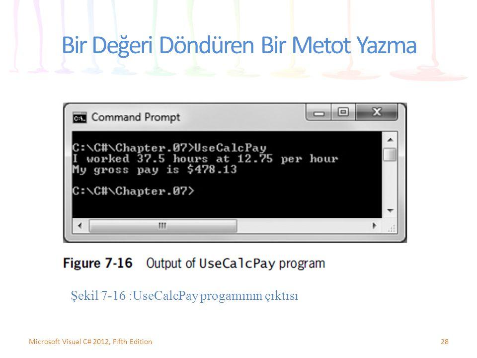 Bir Değeri Döndüren Bir Metot Yazma 28Microsoft Visual C# 2012, Fifth Edition Şekil 7-16 :UseCalcPay progamının çıktısı