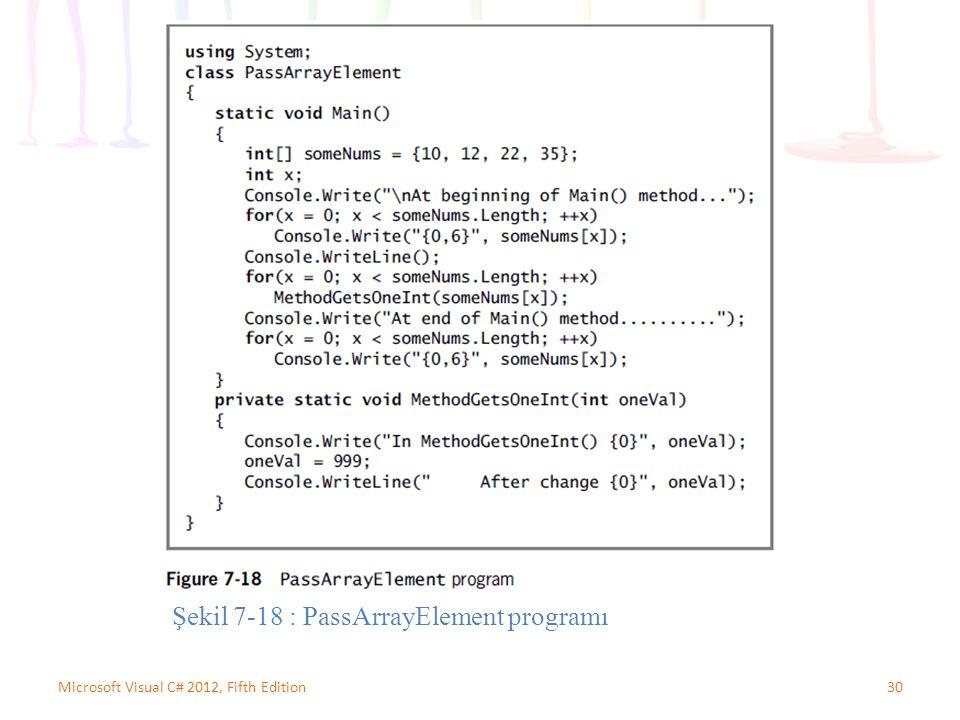 30Microsoft Visual C# 2012, Fifth Edition Şekil 7-18 : PassArrayElement programı