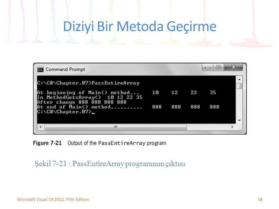 Diziyi Bir Metoda Geçirme 34Microsoft Visual C# 2012, Fifth Edition Şekil 7-21 : PassEntireArray programının çıktısı
