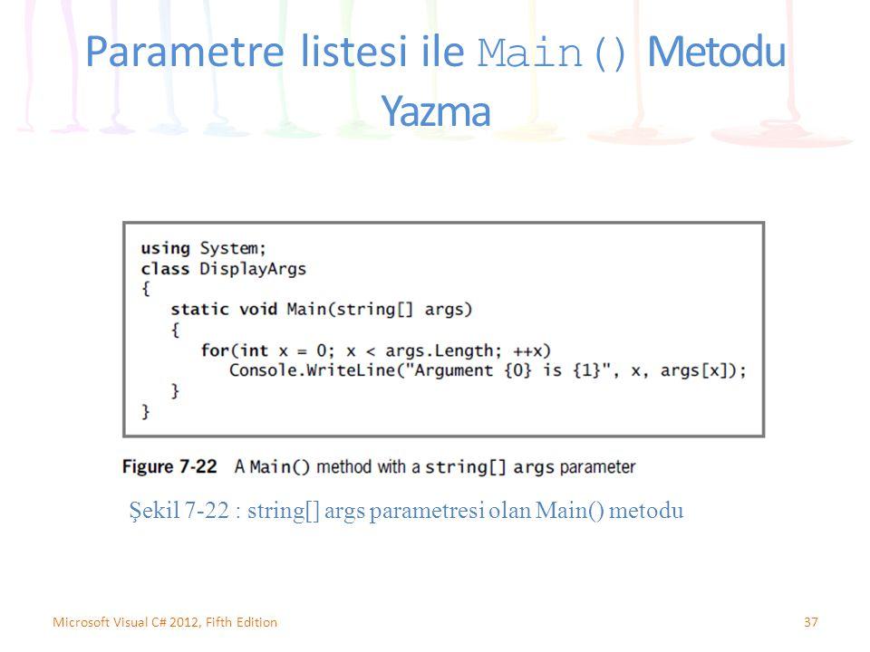 Parametre listesi ile Main() Metodu Yazma 37Microsoft Visual C# 2012, Fifth Edition Şekil 7-22 : string[] args parametresi olan Main() metodu