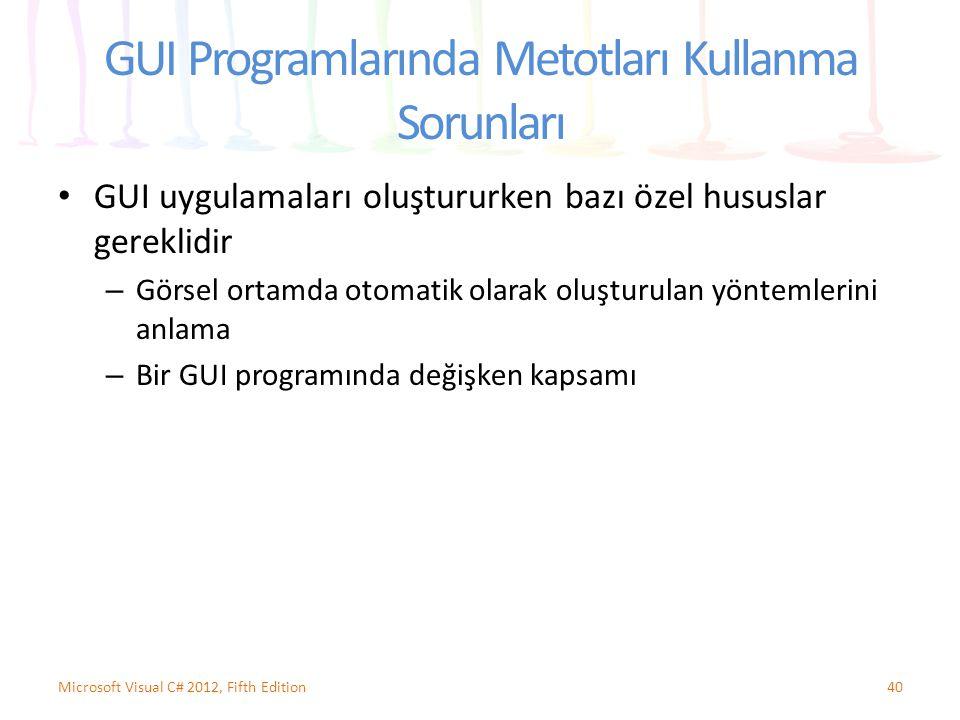 GUI Programlarında Metotları Kullanma Sorunları GUI uygulamaları oluştururken bazı özel hususlar gereklidir – Görsel ortamda otomatik olarak oluşturulan yöntemlerini anlama – Bir GUI programında değişken kapsamı 40Microsoft Visual C# 2012, Fifth Edition