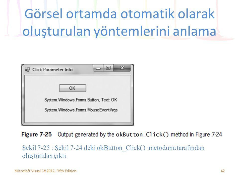 Görsel ortamda otomatik olarak oluşturulan yöntemlerini anlama 42Microsoft Visual C# 2012, Fifth Edition Şekil 7-25 : Şekil 7-24 deki okButton_Click( ) metodunu tarafından oluşturulan çıktı