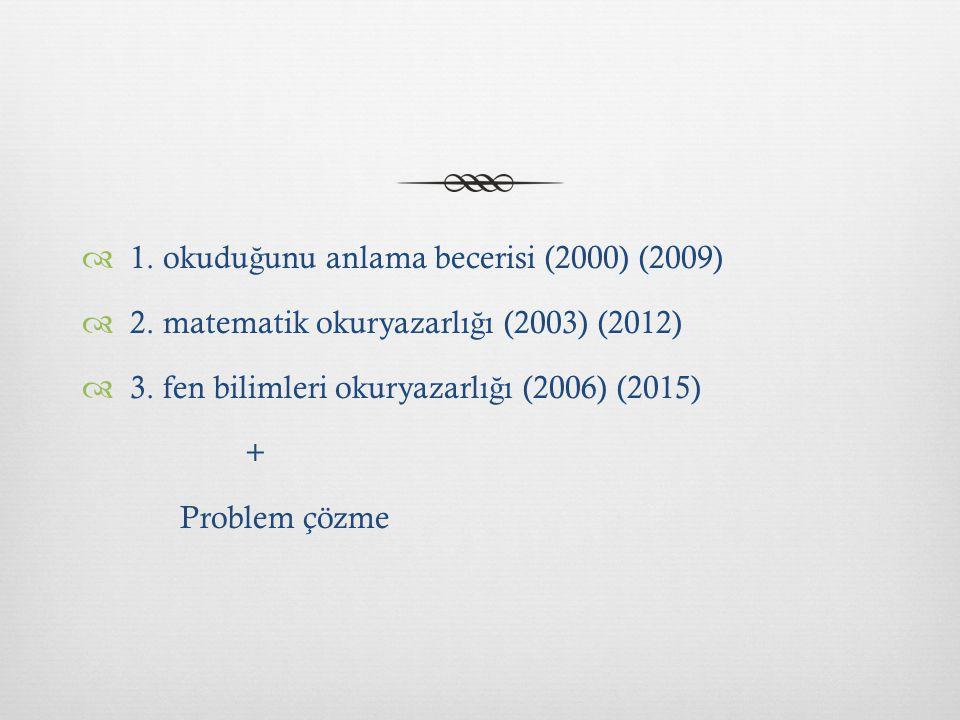  1. okudu ğ unu anlama becerisi (2000) (2009)  2. matematik okuryazarlı ğ ı (2003) (2012)  3. fen bilimleri okuryazarlı ğ ı (2006) (2015) + Problem