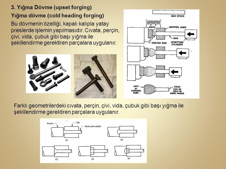 3. Yığma Dövme (upset forging) Yığma dövme (cold heading forging) Bu dövmenin özelliği, kapalı kalıpla yatay preslerde işlemin yapılmasıdır. Cıvata, p