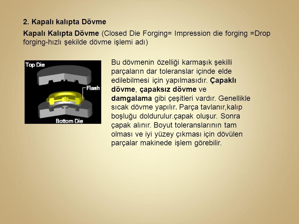 2. Kapalı kalıpta Dövme Kapalı Kalıpta Dövme (Closed Die Forging= Impression die forging =Drop forging-hızlı şekilde dövme işlemi adı) Bu dövmenin öze