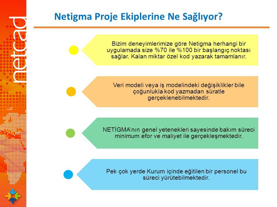 Bizim deneyimlerimize göre Netigma herhangi bir uygulamada size %70 ile %100 bir başlangıç noktası sağlar.