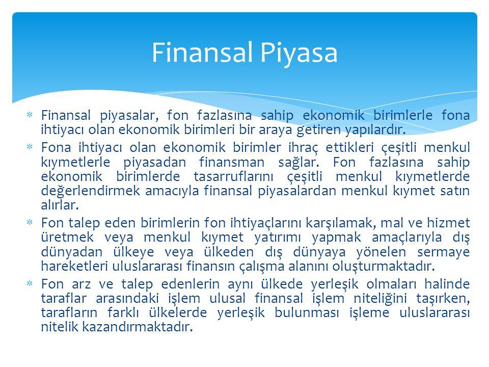  Finansal piyasalar, fon fazlasına sahip ekonomik birimlerle fona ihtiyacı olan ekonomik birimleri bir araya getiren yapılardır.  Fona ihtiyacı olan