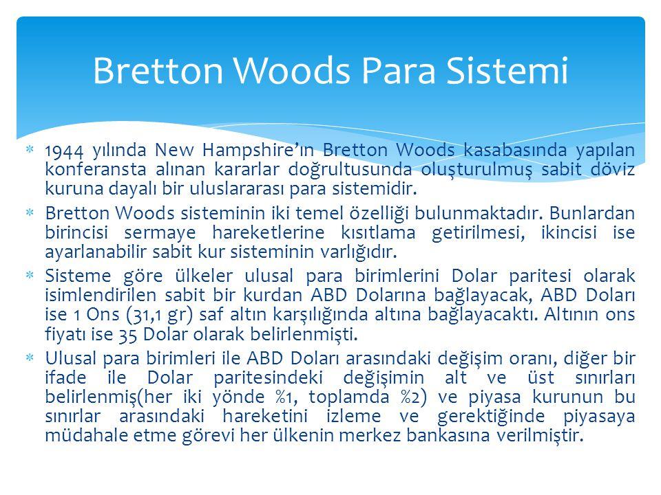  1944 yılında New Hampshire'ın Bretton Woods kasabasında yapılan konferansta alınan kararlar doğrultusunda oluşturulmuş sabit döviz kuruna dayalı bir