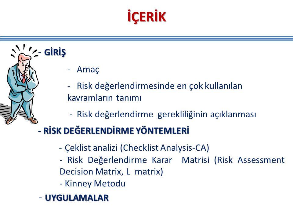 GİRİŞ - GİRİŞ - Amaç - Risk değerlendirmesinde en çok kullanılan kavramların tanımı - Risk değerlendirme gerekliliğinin açıklanması - RİSK DEĞERLENDİR